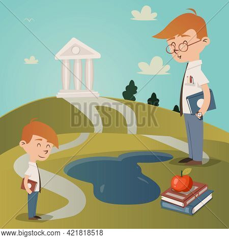 Back To School Vector Illustration With A Cute Little Boy With A Textbook Under His Arm Standing On