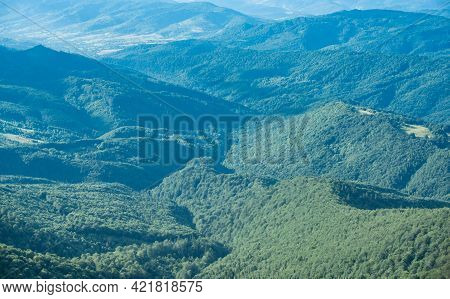 Nature Beauty Concept. Transcarpathia Mountain Landscape. Grassy Field And Rolling Hills Panoramic V