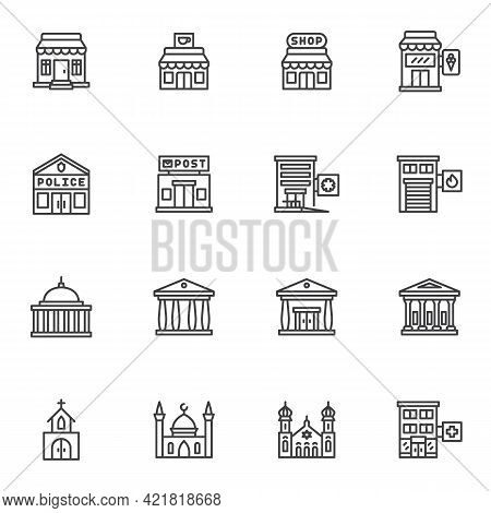 Buildings Architecture Line Icons Set, Outline Vector Symbol Collection, Linear Style Pictogram Pack