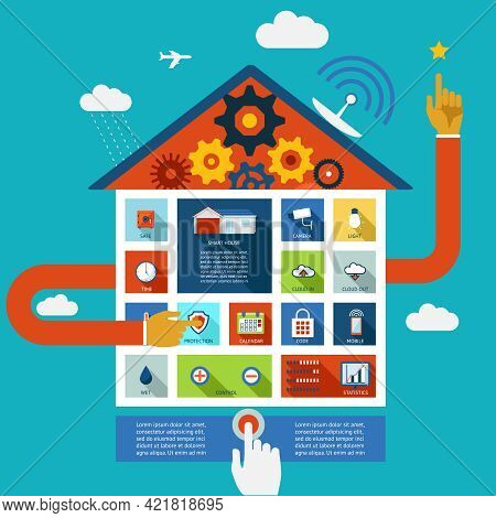 Vector Display Panel To Control A Smart House For Humidity  Security And Lighting With A Person Acti