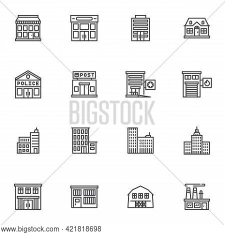 City Buildings Line Icons Set, Outline Vector Symbol Collection, Linear Style Pictogram Pack. Signs,
