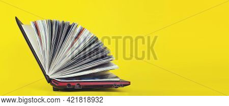 Elearning Concept. Laptop As Book On Yellow Background. Digital Online Education.