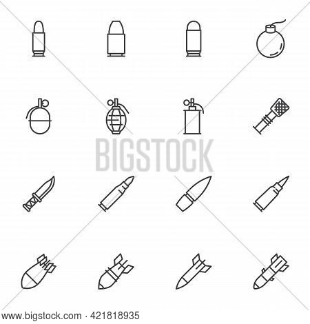 Ammunition Bullets Line Icons Set, Outline Vector Symbol Collection, Linear Style Pictogram Pack. Si