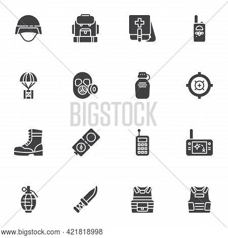Military Equipment Vector Icons Set, Modern Solid Symbol Collection, Filled Style Pictogram Pack. Si