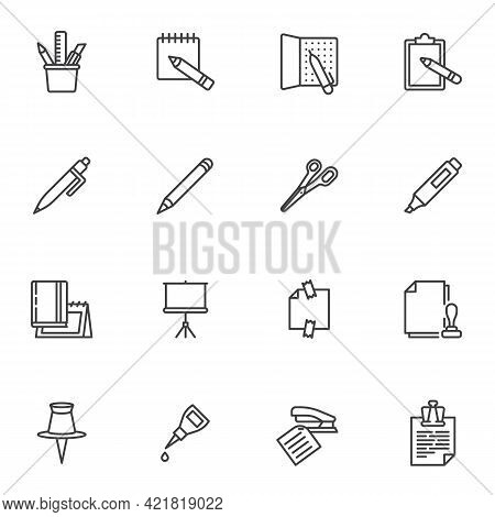 Office Supplies Line Icons Set, Outline Vector Symbol Collection, Linear Style Pictogram Pack. Signs
