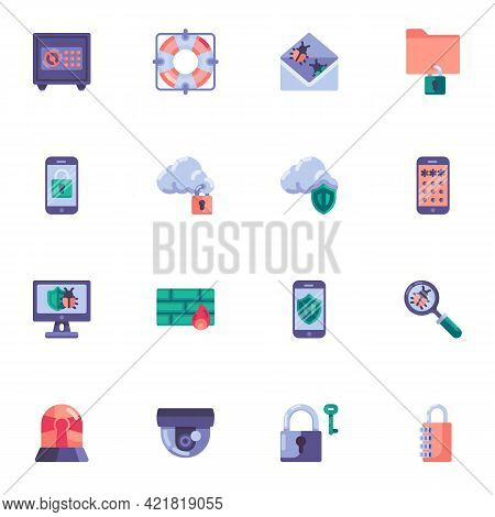 Security System Elements Collection, Data Encryption Flat Icons Set, Colorful Symbols Pack Contains