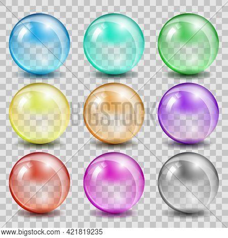 Abstract Glass Color Spheres On Transparent Background. Ball Shiny Transparent, Bubble Reflection An