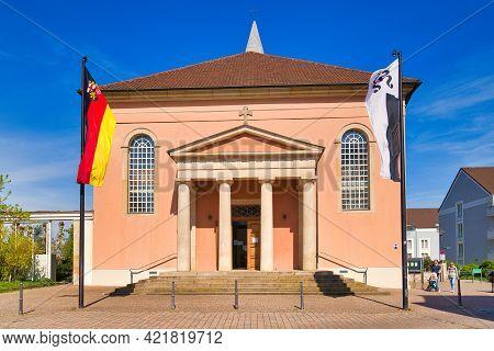 Bad Dürkheim, Germany - April 2021: Neoclassicism City parish Church St. Ludwig