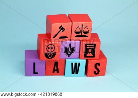 Wooden Cubes With The Concept Of Judgment Or Court For Justice