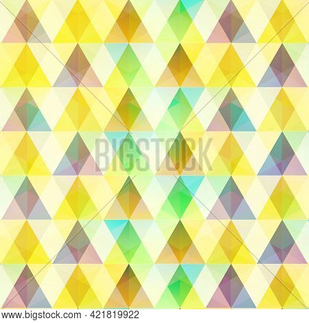 Abstract Colorful Mosaic Template With Triangular And Diamond Crystal Shapes In Geometric Style Vect