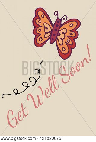 Composition of get well soon text with butterfly on pink background. communication and well wishing concept digitally generated image.