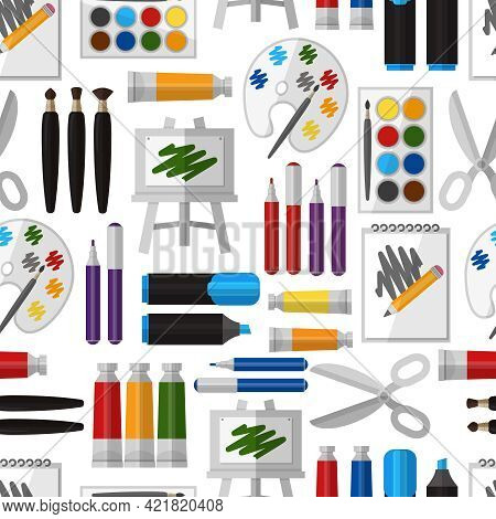 Artistic Tool Seamless Pattern. Paintbrush And Tool, Design Drawing, Brush And Pallette, Craft And C