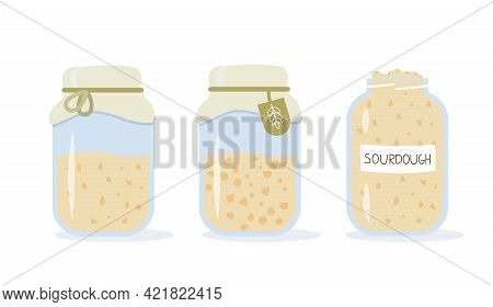 Set Of Icons Of Sourdough Bread Starter In Mason Jar For Home Baking. Homemade Yeast Dough In Glass