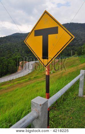T Junction Road Sign