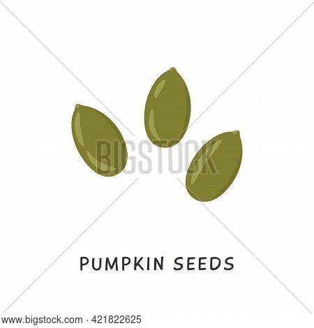 Whole And Peeled Pumpkin Seeds Isolated On White Background. Beans In Flat Cartoon Style. Vector Car