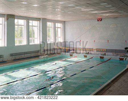 Gomel, Belarus - May 24, 2021: Swimming Pool Distance 25 Meters With 5 Lanes