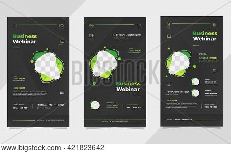 Set Of Business Webinar Social Media Stories Post Template With Liquid Shape And Black Background