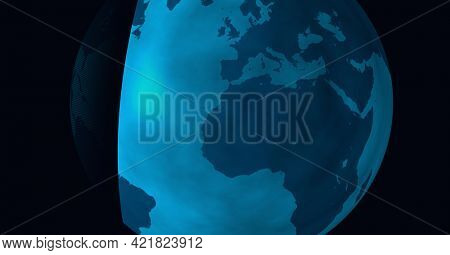 Composition of blue globe with translucent edge on black background. global technology and connections concept digitally generated image.