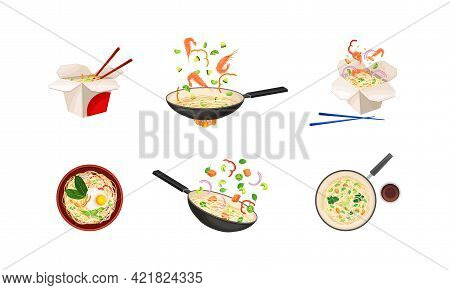 Chinese Udon Noodle Preparation With Stir-frying In Wok Pan Vector Set
