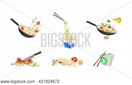 Chinese Udon Noodle Preparation Steps With Ingredients Chopping And Stir-frying In Wok Pan Vector Se