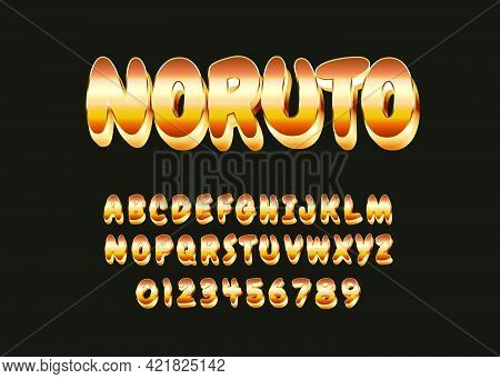 Cartoon Style Text Effect. Set Of Alphabet And Number With Famous Ninja Cartoon Style Look