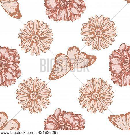 Seamless Pattern With Hand Drawn Pastel Poppy Flower, Calendula, Plain Tiger Stock Illustration