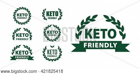 Keto Diet Friendly Stamp For Products. Ketogenic Label,marks Set Certified Ketogenic Food And Lifest