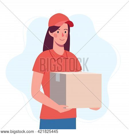 Courier Girl Who Brought The Box. Safe Delivery Of The Order From The Delivery Service..vector In Fl