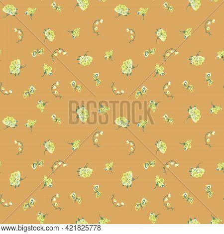 Yellow Flowers And Butterflies Toss Vector Pattern