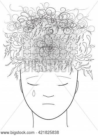 Woman Head Full Of Confused Thoughts. Concept Sketchy Doodles Illustration About Stress And Depressi