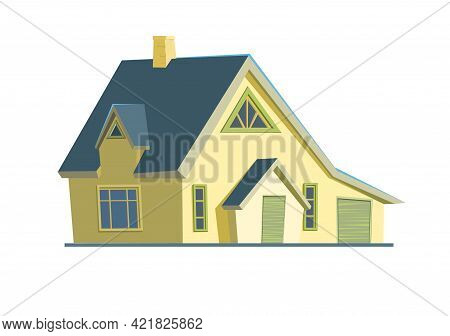 Rural House In A Cheerful Cartoon Flat Style. Isolated On White Background. Half Turn. Gable Blue Ro