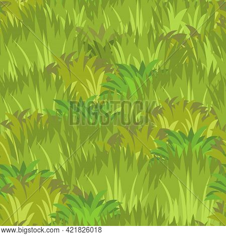 Seamless Pattern. Close-up Of A Meadow With Dense Grass. Wild Green Rural Plants. Cartoon Style. Fla