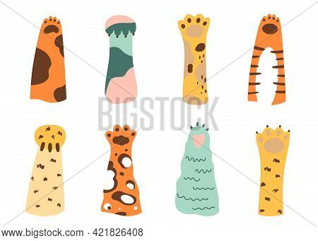 Cat Paw Set. Wild Animals Cartoon Colored Cat Paws. Collection Of Various Cute Cartoon Domestic Anim