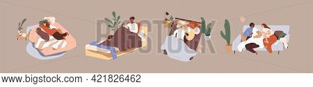 Set Of People Relaxing With Pets On Beds And Sofas. Collection Of Men And Women Spending Time, Resti