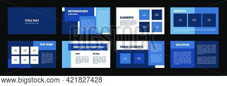 Presentation Template. Blue Rectangles Flat Design, White Background. 8 Slides. Title, Methodology,