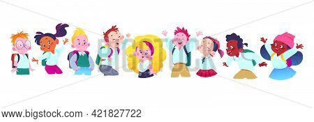 Happy School Kids Group With Backpacks Having Fun Together. Students Characters In Uniform Smiling,