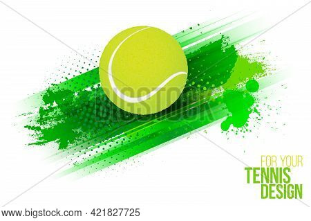 Abstract Green Grungy Background With Stripes And Tennis Ball. Template For Your Sport Design. Vecto
