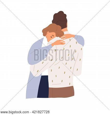 Couple Of Sad Woman And Man Hugging To Support Each Other In Grief. Unhappy People Embracing. Concep