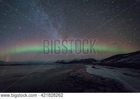 Northern lights sky over Iceland