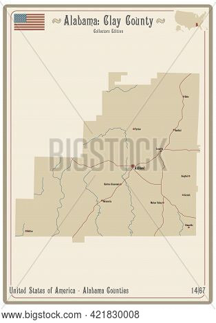 Map On An Old Playing Card Of Clay County In Alabama, Usa.