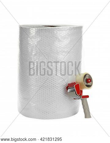 Bubble Wrap Roll And Tape Dispenser Isolated On White
