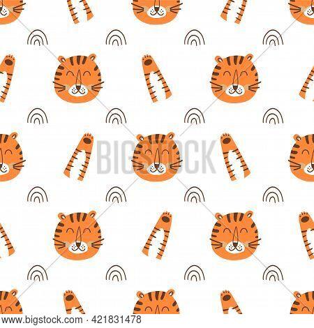 Tiger Face Pattern. Tiger Head Pattern. Cartoon Cute Tiger, Wild Cat Paw Background. Wild Fabric Des