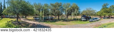 Beaufort West, South Africa - April 3, 2021: Panorama Of The Caravan Park At Steenbokkie Nature Rese