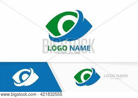 Minimalist Eye Logo Combination. Unique Multimedia Vision Logotype Design Template.