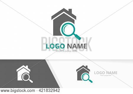 Real Estate And Loupe Logo Combination. House And Magnifying Glass Logotype Design Template.