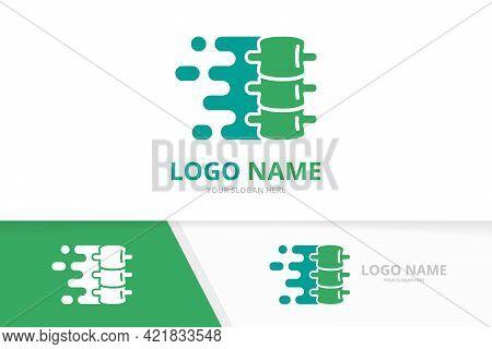 Vector Fast Spine Logo Combination. Speed Vertebral Column Logotype Design Template.