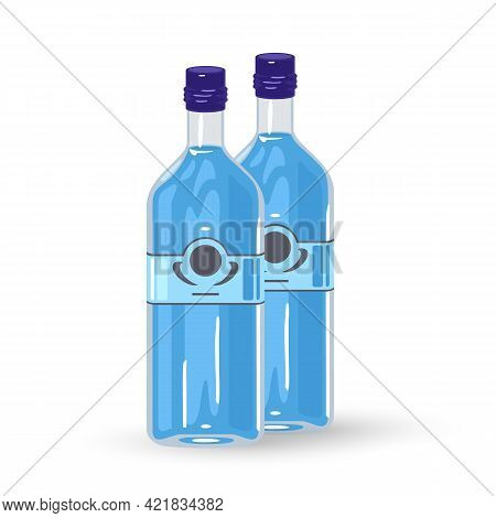 Cartoon Component For Cocktail Gin And Tonic. Vector Alcoholic Beverage, Shipment From Storage Facil