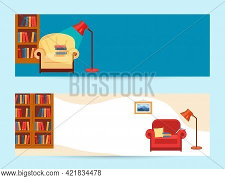 Banner With Interior Home Library. Room With Bookcase