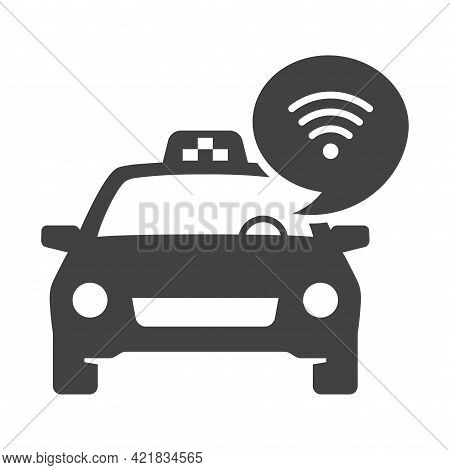 Monochrome Free Wifi In Taxi Icon Vector Illustration Transportation Service With Internet Available