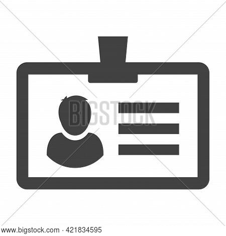 Outline Simple Staff Identification Icon Vector Illustration Id Card With Photo And Personal Data